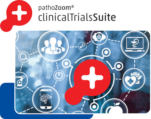 Product image research processes and research results which are digitally organized with the help of the PathoZoom Clinical Trials Suite