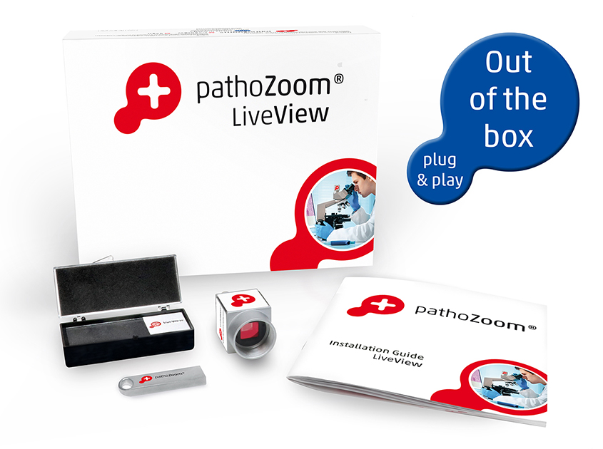 Product box from PathoZoom LiveView with camera, calibration slide and manual from Smart In Media