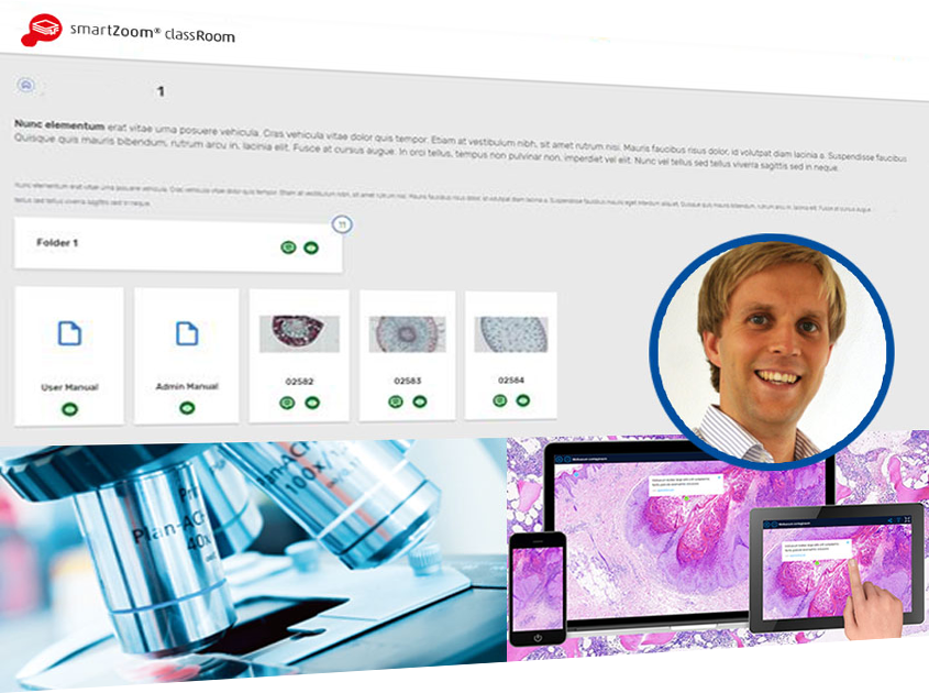 Microscope, screenshot and mobile devices show the application of SmartZoom ClassRoom at the Heinrich Heine University Düsseldorf