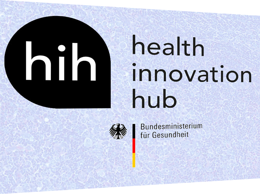 Logo of the health innovation hub of the Federal Government with the participation of Smart in Media with the products PathoZoom and EasyRadiology